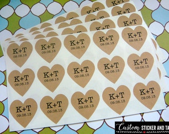 "35 custom heart stickers personalized with your initials and wedding date, 1.25"" , wedding favors, envelope seals, kraft stickers (S-50)"
