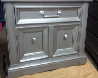 Nightstand in Graphite Metallic Finish Vintage Poppy Cottage Painted Furniture