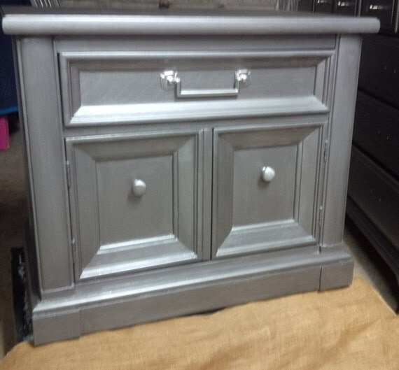 Items Similar To Nightstand Bedside Cabinet In Zinc Metallic Finish Vintage Poppy Cottage