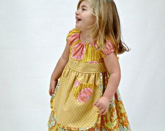 Dress - Peasant dress, Apron Dress, toddler, girl, baby, brown, pink, flower girl dress, size 12-18 mos., 18-24 mos., 2T, 3