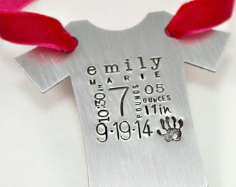 Baby Statistics Ornament, Baby's First Christmas Hand Stamped ornament, Name, Birthdate, Weight, Baby Vest, Onesie, Personalized Ornament