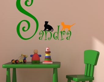 Girls name decal , Childrens wall sticker, Kitten decal, Girls bedroom decor, Personalized name, Cat decal 33 X 35 inches