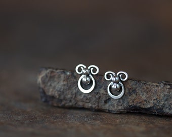 Tiny sterling silver stud earrings, Mini abstract earrings, Handcrafted artisan earrings, Cute unique stud earrings, Ladybug earrings