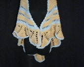 Knit Shawl Wrap Tan & Blue Wool Boho Hippie Chic Cape OS