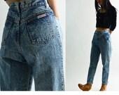 Vintage 80s High Waisted Jeans / Medium Wash Acid Wash Jeans / High Waist Jeans Taper Jeans / Jack MULQUEEN Skinny Mom Jeans 28 Waist