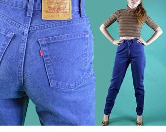 80s Vintage Levi Levis 512 High Waist Jeans Womens Denim Taper Leg Jeans Dark Wash Indigo Blue LEVIS 512 Jeans 28 Waist