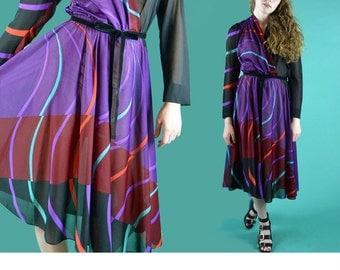 Vintage 70s Dress Sheer Geometric Print Full Skirt Dress / Long Sleeve Wrap Bodice 1970s Sheer Black Mod Dress Secretary Day Dress M / L