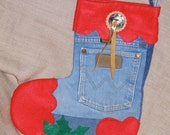 Jean Blue Red Wrangler Christmas Stocking with Cotton Print Lining  - Big with Lots of Room and Useable Front Wrangler Pocket