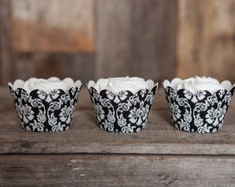 12 Black Damask Cupcake Wrappers - Damask Cupcake Wrappers - Great for Birthday Parties, Bridal Showers and Wedding Reception Desserts