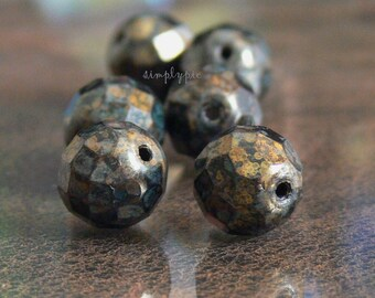 Jet Bronze Picasso, Czech Fire Polished Beads 12mm 6 Faceted Round Glass