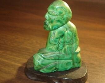 Malachite Carved Asian Man