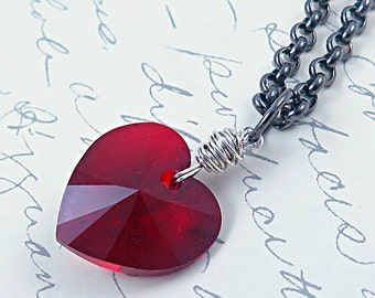 Crystal Heart Necklace, Red Heart Necklace, , Pink Heart Necklace, Wire Wrapped Jewelry