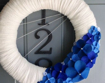 Yarn Wreath Felt Flower Handmade Hanukkah Chanukah Holiday Door - Festival 12in