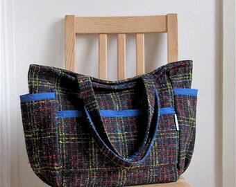 Textured Winter Wool Upcycled Large Weekender - Vintage Plaid - Retro Baby / Teacher / Market / Diaper Bag - Eco Friendly Him  Her Gift OOAK