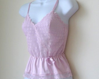 Sheer Camisole - Size 32 - Small - CANDICE - 80s - Pale Pink - Floral Netting Lace - Romantic - Romance - Recycled UNIQUE - Cami - Girly