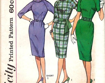 Vintage 1960s Pattern Raglan Sleeve Rolled Collar Sheath Dress Proportioned Sizes 1961 Simplicity 4051 Bust 36 UNCUT