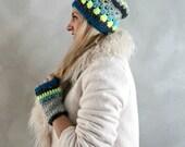 Beanie and Gloves Set- Crochet Beanie- Fingerless Gloves- Gift Set- Womens Winter Hat- Ski Hat- Neon Yellow Grey Blue- Gift for Her- Gift