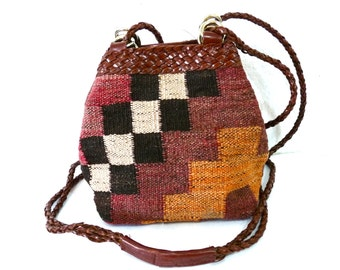 Vintage 80s Kilim Woven Bag by L.J. Simone Leather Braided Cross body Tote Bag