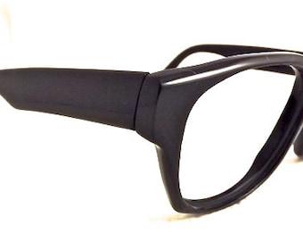 1980s Geeky Eyeglasses // 80s Vintage Frames // 50s 60s Style // Black // Handmade in France // Dessange  Brand