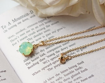 Mint Green Chrysolite Opal Swarovski Crystal Gold Necklace Pale Green Opalescent Necklace