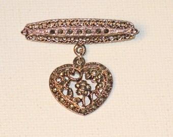 Vintage Marcasite Dangling Heart Brooch Pin  (B-1-1)