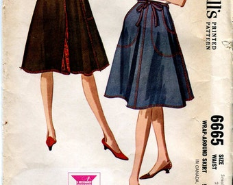 McCall's 6665 - Vintage 60s Lined Wrap Around Skirt Pattern 24-25 waist