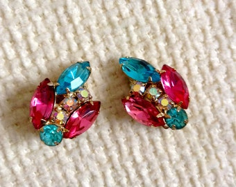 Vintage 1950's, Fruit salad rhinestone and AB, Clip on Earrings.  Unmarked. Hollywood Glamour.