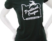 Made in Oregon T Shirt| Portland Oregon Wild & Free| art by Matley| Hometown pride tees| Travel tee| Women's soft fitted| Slim cut T Shirt.
