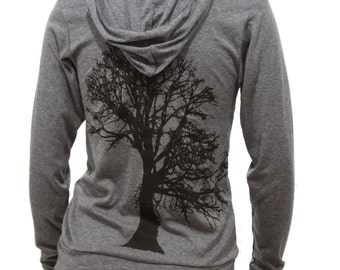 Oak Tree| Soft Lightweight full zip| Hoodie| Men's and Women's| Art by MATLEY| Nature| Gift for him. Gift for her| Spring jacket.