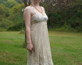 Prairie Empress Upcycled Gypsy Dress Summer Hippie Dress Knottymama Upcycled  HANDMADE Apron Top Sundress Cream Lace Blue Butterfly size 10