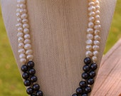 Pearl Necklace, Beadwork Necklace, Bridal Jewelry, MultiStrand Pearl Necklace, White Purple Pearl Necklace