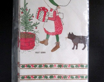 """Holly Hobbie Christmas American Greetings 1973 Paper Tablecover 54"""" x 96"""" New In Package"""