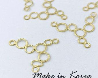 50% off - Made in Korea - 6pcs Matt Gold Plated Brass Circle Charm / Pendant (KP2605-G) - High Quality