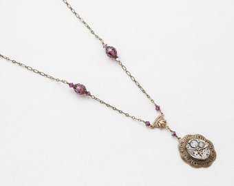 Steampunk Necklace Vintage silver watch movement gold filigree pendant amethyst purple Swarovski crystal Statement necklace womens Gift 2769