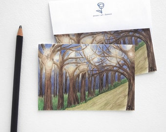 art print card set, watercolor cards, fall party invitations, nature notecard, blank cards with envelopes