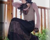SALE - Skirt - Steampunk - Burning Man - Long Skirt - Maxi Dress - Sexy Skirt - Black - Designer Fashion - Gypsy - Formal - Size X- Large