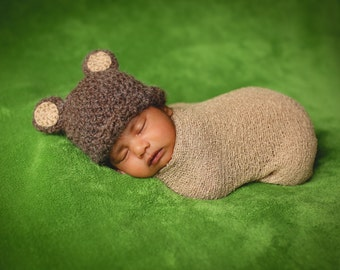 CROCHET PATTERN Easy Baby Hat PDF Bear Beanie Teddy Bear Fuzzy