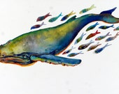 Print of my Original Gouache - Humpback Whale and Guppy Friends - from my Daily Whale Series