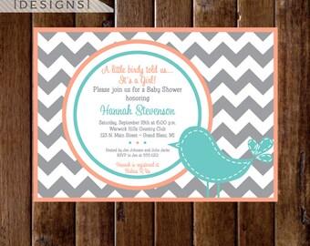 Preppy Chevron Bird Baby Shower Invitation - Gray Coral and Turquoise - PRINTABLE INVITATION DESIGN