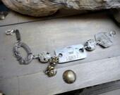THE DOG CATCHER No. 2. Vintage  Dog Tags, dog collar and dog charm trinket Bracelet, with Dalmatian Jasper ooak unisex