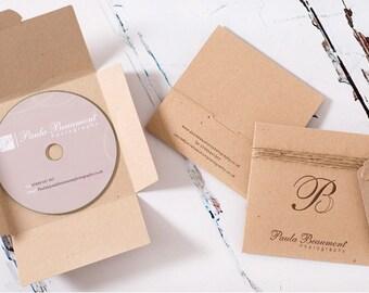 Letterpress Single Self Locking CD / DVD Sleeves. Personalised x 50