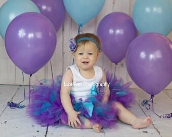 Purple Baby Tutu Dress Birthday Outfit, Baby Girls Turquoise and Purple 1st Birthday Dress, Aqua Tutu