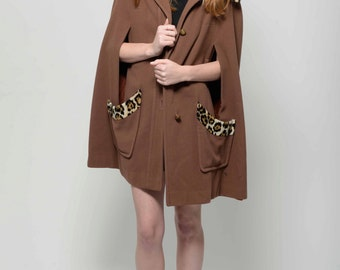 Vtg 60s Super Chic Posh Dainty Cheetah Jungle Kitten Mod Faux Fur Brown Cape S/M/L/Xl