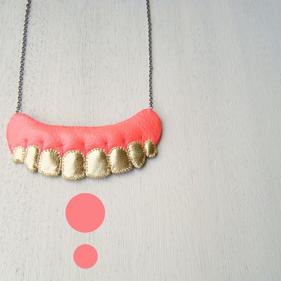 ON SALE - Human Teeth Necklace, Gold Teeth Necklace, vegan necklace, vegan jewelry