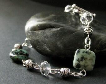 Turquoise Bracelet. Beaded Bracelet. Turquoise Gemstone Bracelet. Gemstone and Crystal Bracelet. Handmade Bracelet. Handmade Jewelry.