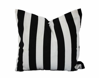 Stripe Decorative Pillow Cover, Black and White - ONE - You Pick Size, Free U.S. Shipping