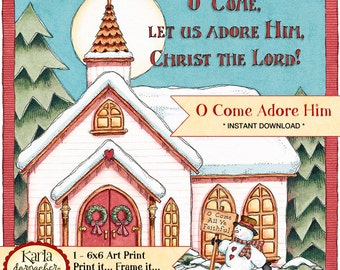 O Come Adore Him Digital Art Print 8x10 Christian Christmas Printable Church Snowman Ready to Frame Cardmaking Crafts INSTANT DOWNLOAD