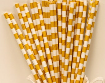 Paper Straws, 50 Yellow Gold Sailor Striped Paper Straws, Baby Shower, Discount Paper Straw, Yellow Straws, Bulk Paper Straws, Party Supply