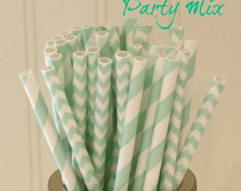 Paper Straws, MADE IN USA,  25 Mint Paper Straws, Mint Chevron Straws, Mint Wedding Straws, Green Paper Straw, Drinking Straws, Baby Shower