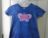 Blue Girls Dress (6), Blue and Pink Girls Butterfly Dress, Batik Butterfly Dress, Girls Butterfly Dress, Pink Butterfly Dress